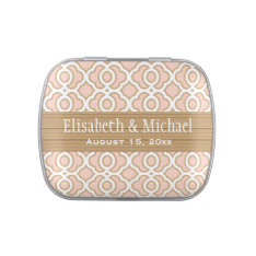Blush Pink and Gold Moroccan Wedding Favor Jelly Belly Candy Tins at Zazzle