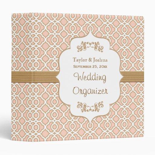 Blush Pink and Gold Moroccan Wedding Organizer Vinyl Binder