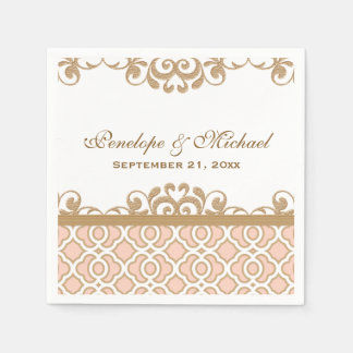Blush Pink and Gold Moroccan Wedding Paper Napkin