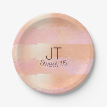 Blush Pink and Gold Personalized Paper Plate