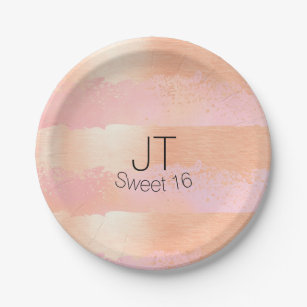 Blush Pink and Gold Personalized Paper Plate  sc 1 st  Zazzle & Brush Strokes Pattern Plates | Zazzle