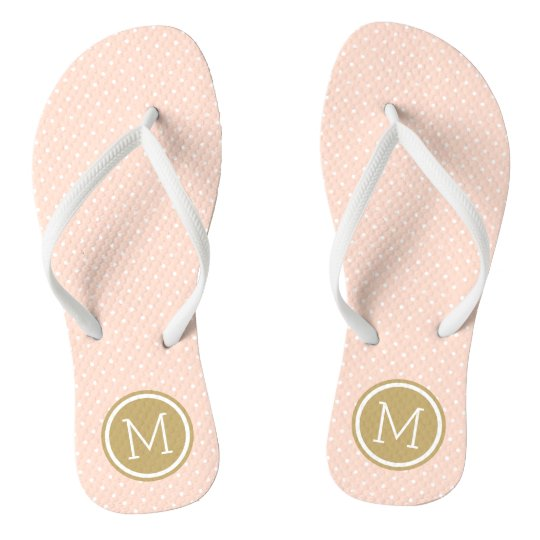 86b08b471baf Blush Pink and Gold Tiny Dots Monogram Flip Flops