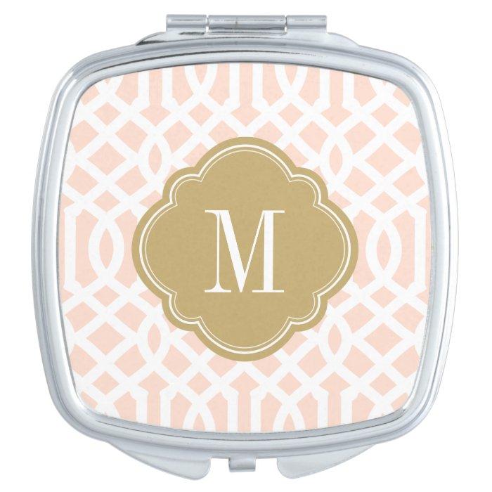 blush pink and gold trellis monogram compact mirror