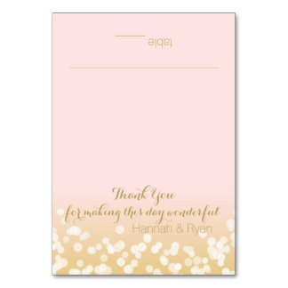 Blush Pink and Gold Twinkle Lights Design Card