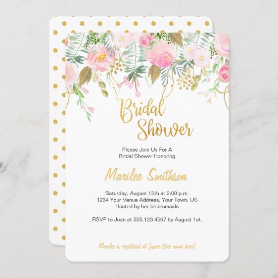 Blush Pink and Gold Watercolor Bridal Shower Invitation