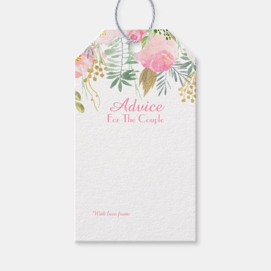 Blush Pink and Gold Watercolor Floral Advice Tags