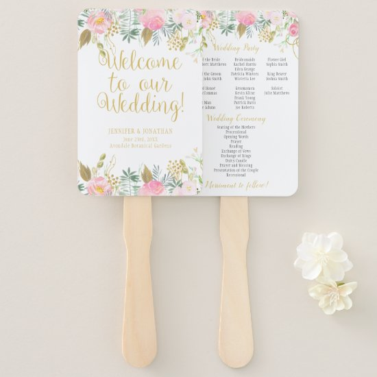 Blush Pink and Gold Watercolor Floral Program Fans