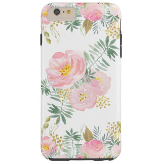 Blush Pink and Gold Watercolor Flowers Tough iPhone 6 Plus Case