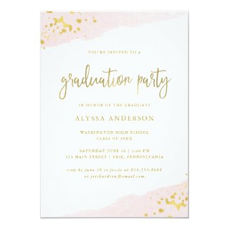Blush Pink and Gold | Watercolor Graduation Party Card