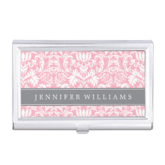 Blush Pink and Gray Elegant Damask Personalized Business Card Holders