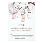 "Blush Pink and Grey Floral Mason Jars RSVP Cards 3.5"" X 5"" Invitation Card"