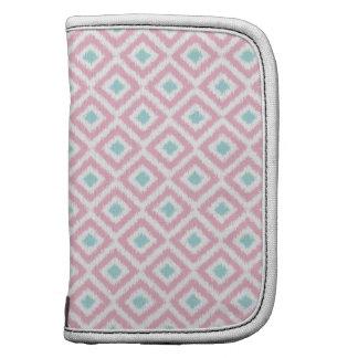 Blush Pink and Mint Diamond Ikat Pattern Folio Planners