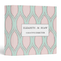 blush pink and mint Modern Geometric Pattern 3 Ring Binder