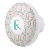 blush pink and mint Modern Geometric Pattern Ceramic Knob