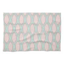 blush pink and mint Modern Geometric Pattern Kitchen Towel
