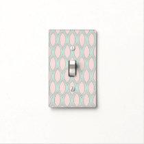 blush pink and mint Modern Geometric Pattern Light Switch Cover