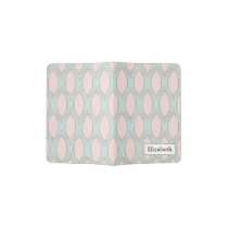 blush pink and mint Modern Geometric Pattern Passport Holder