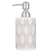 blush pink and mint Modern Geometric Pattern Soap Dispenser & Toothbrush Holder