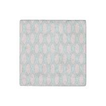 blush pink and mint Modern Geometric Pattern Stone Magnet