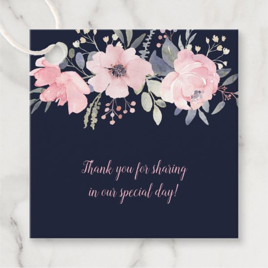 Blush Pink and Navy Floral Square Wedding | Favor Tags
