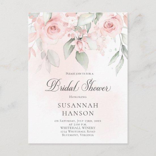 Blush Pink and Pastel Green Floral Bridal Shower Postcard