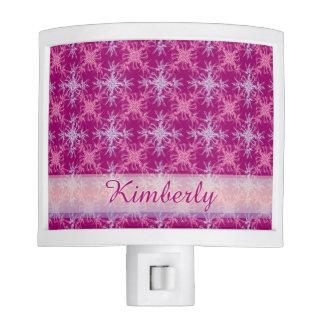 Blush Pink and Purple Damask Night Light