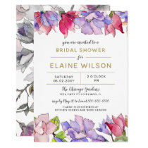 blush pink and purple floral spring bridal shower card