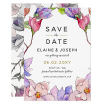 blush pink and purple floral spring save the date card