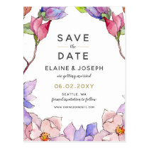 blush pink and purple floral spring save the date postcard