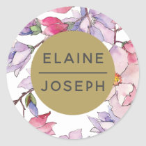 blush pink and purple floral spring Wedding Classic Round Sticker