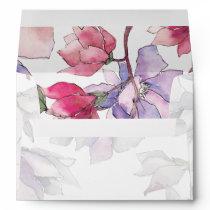 blush pink and purple floral spring Wedding Envelope