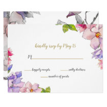 blush pink and purple floral spring wedding rsvp card
