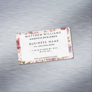 Blush Pink and Red Watercolor Floral Roses Magnetic Business Card
