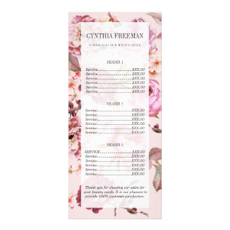 Blush Pink and Red Watercolor Floral Roses Rack Card