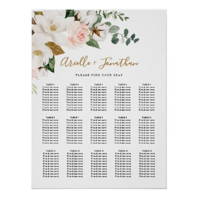 Blush Pink and White Floral Wedding Seating Chart