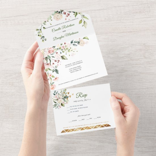 Blush Pink and White Flowers Gold Accents    All In One Invitation