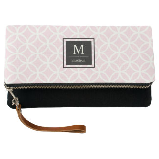 Blush Pink and White Geometric Pattern and Black Clutch