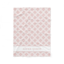 Blush Pink and White Geometric Personalized Baby Fleece Blanket