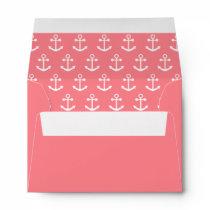 Blush Pink and White Nautical Anchor Pattern Envelope