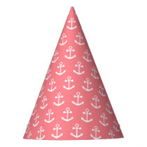 Blush Pink and White Nautical Anchor Pattern Party Hat