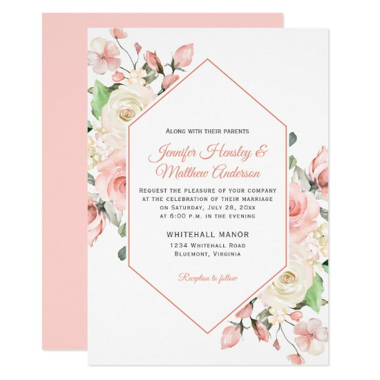 Blush Pink and White Roses Frame Wedding Invitation