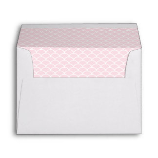 Blush Pink and White Shell Pattern Lined Envelope