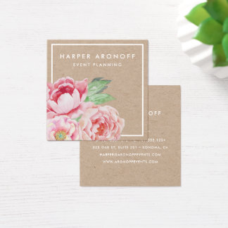 Blush Pink Antique Peony | Kraft Square Business Card
