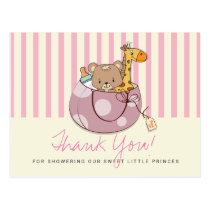 Blush Pink Baby Animals Baby Shower Thank You Postcard