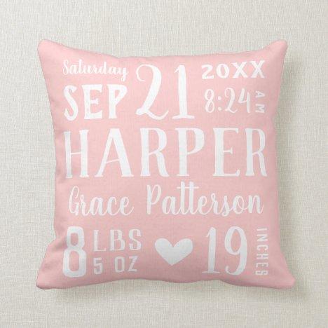 Blush Pink Baby Girl Birth Stats   Editable Colors Throw Pillow