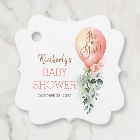 Blush Pink Balloon Baby Shower Thank You Favor Tags