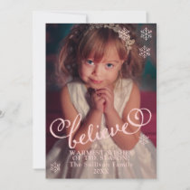 Blush Pink Believe  | Snowflakes Christmas Photo Holiday Card