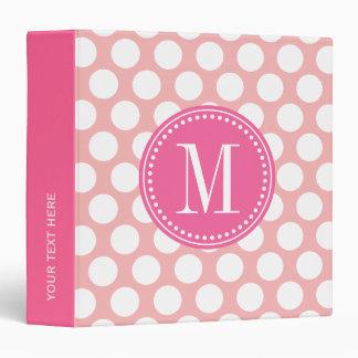 Blush Pink Big Polka Dots Monogrammed Binder