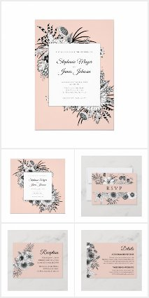 Blush Pink Black and White Floral Wedding Suite