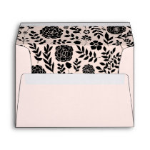 Blush Pink | Black Floral Pattern Wedding Envelope